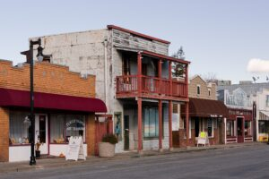 Historic buildings on a street in Isleton in the Sacramento-San Joaquin Delta.