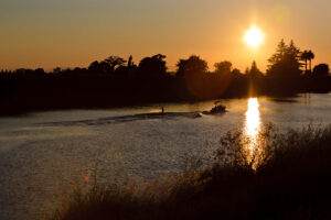 Recreational boaters on the water in the Sacramento-San Joaquin Delta.